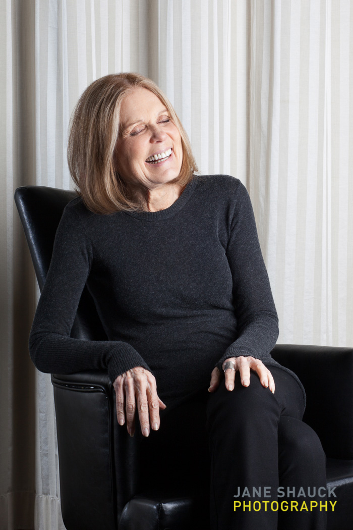 Gloria Steinem portrait at 82 speaking at a fundraiser luncheon for the Holyoke Care Center in Holyoke, MA