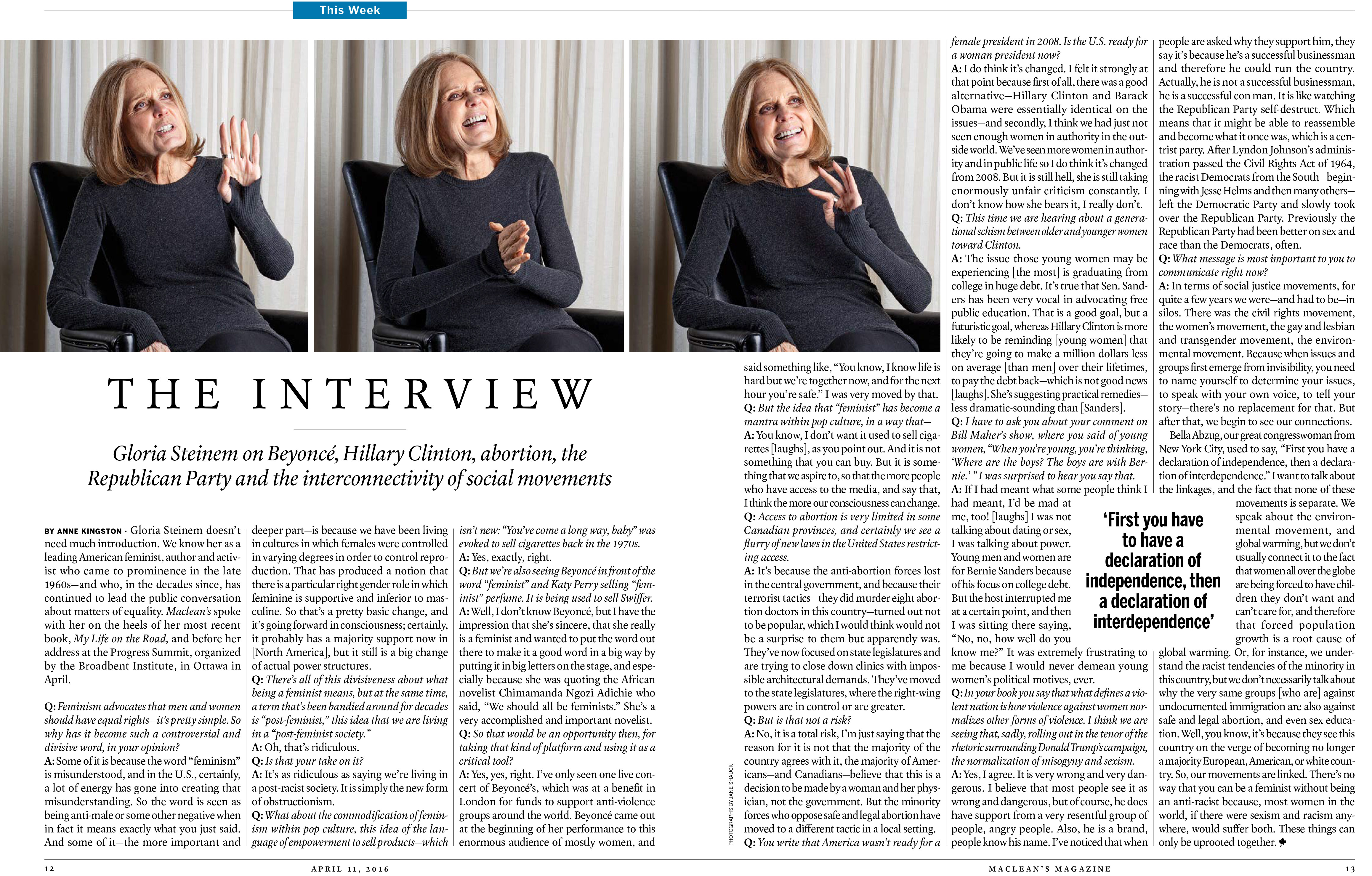 Interview - Gloria Steinem